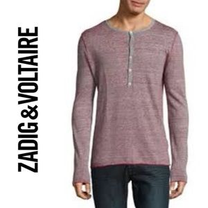 Zadig & Voltaire Tiger Lined Henley Style Sweater